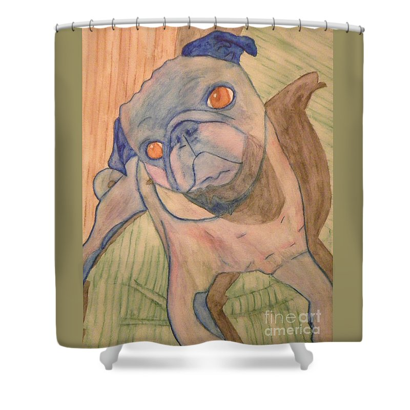 Shower Curtain featuring the painting Watercolor Pug by Purely Pugs Design