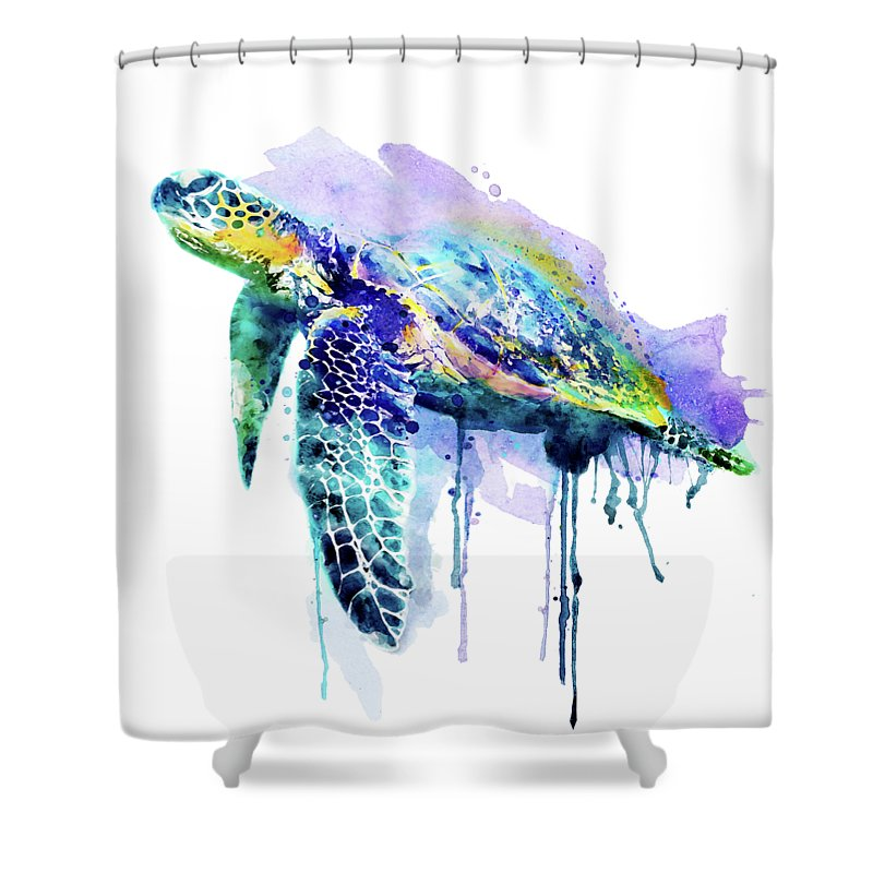 Watercolor Sea Turtle Shower Curtain For Sale By Marian Voicu