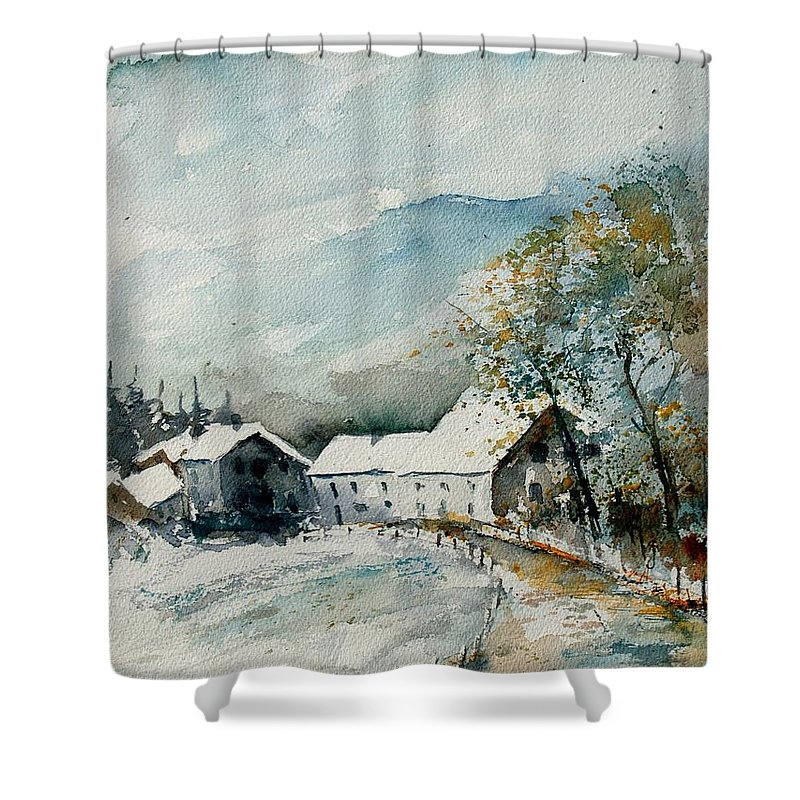 River Shower Curtain featuring the painting Watercolor Sechery 1207 by Pol Ledent