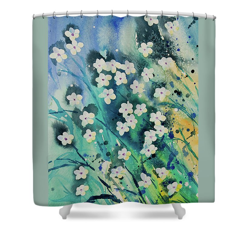 Flower Shower Curtain Featuring The Painting Watercolor