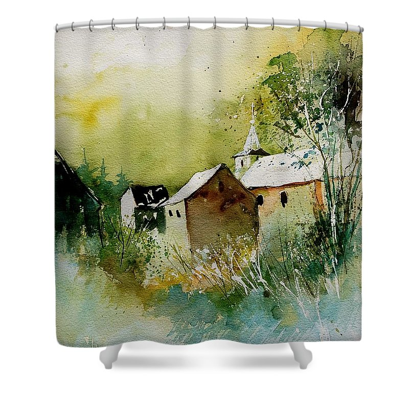 Landscape Shower Curtain featuring the painting Watercolor Sosoye by Pol Ledent