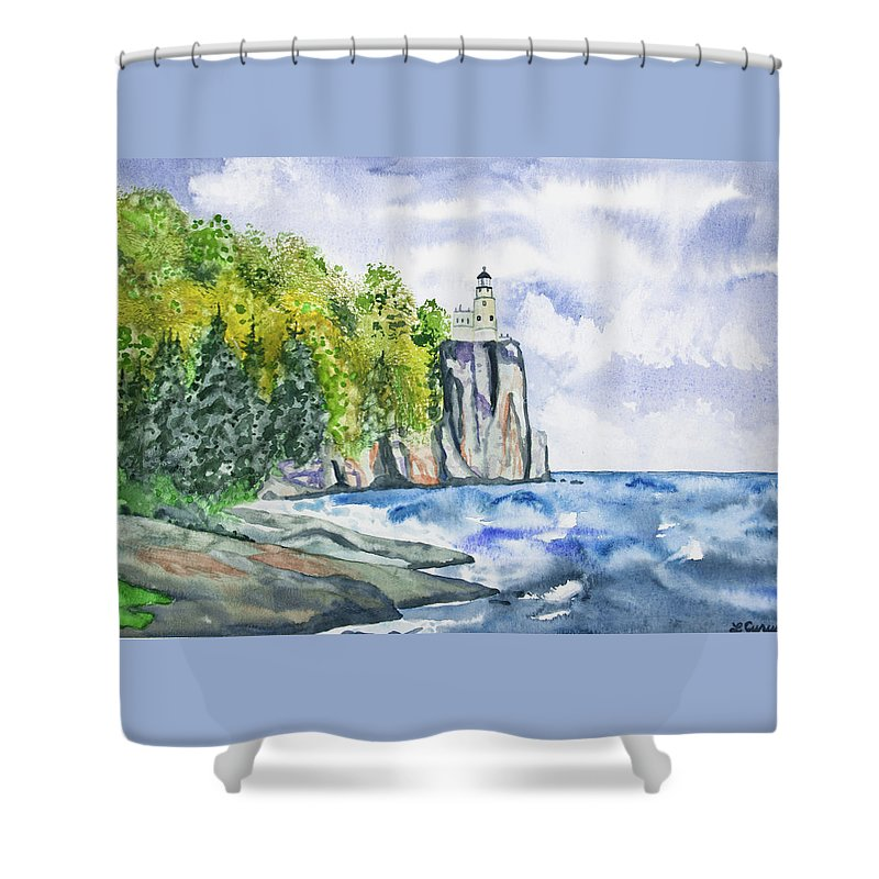 Lighthouse Shower Curtain Featuring The Painting Watercolor