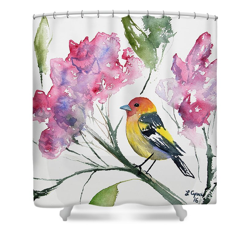 Western Tanager Shower Curtain featuring the painting Watercolor - Western Tanager In A Flowering Tree by Cascade Colors