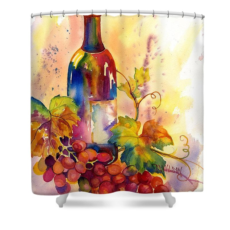 Wine Shower Curtain Featuring The Painting Watercolor By Peggy Wilson
