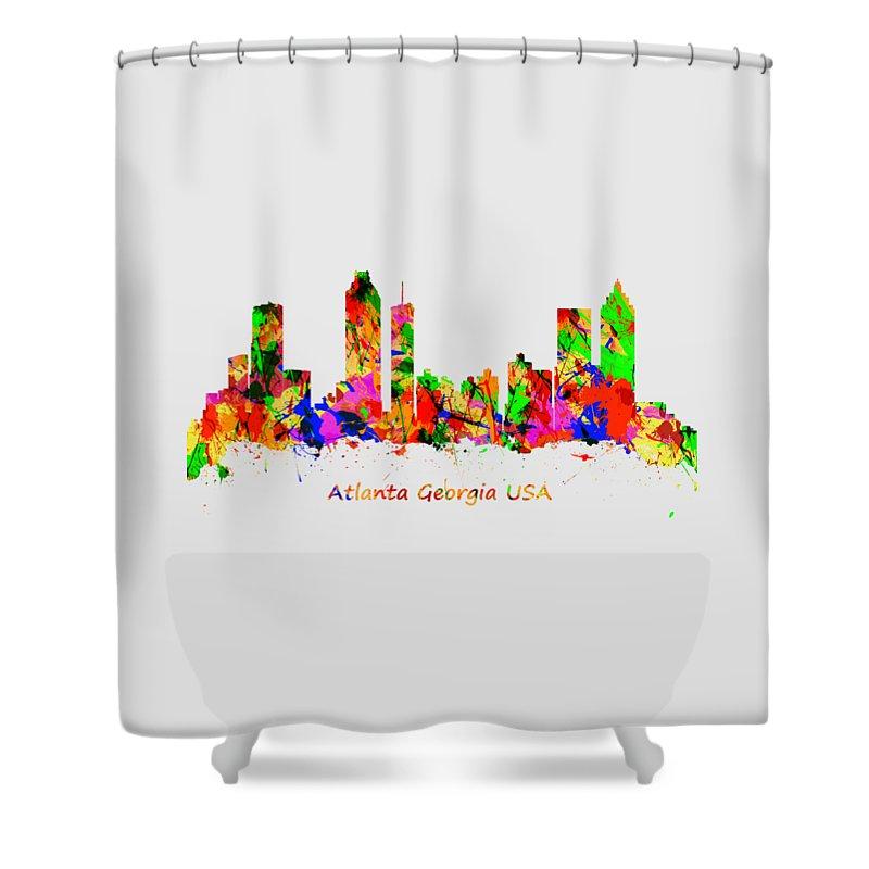 Atlanta Shower Curtain featuring the photograph Watercolour Art Print Of The Skyline Of Atlanta Georgia Usa by Chris Smith