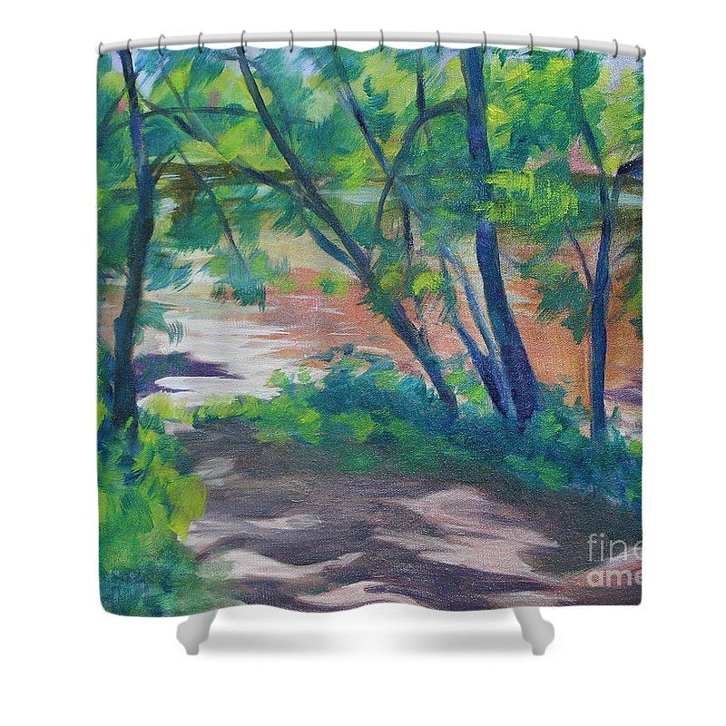 Landscape Shower Curtain featuring the painting Watercress Beach On The Current River  by Jan Bennicoff