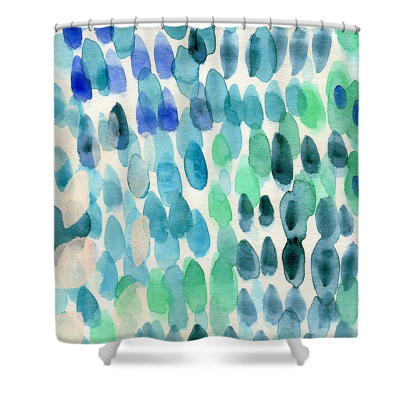 Water Shower Curtain featuring the painting Waterfall 2- Abstract Art by Linda Woods by Linda Woods