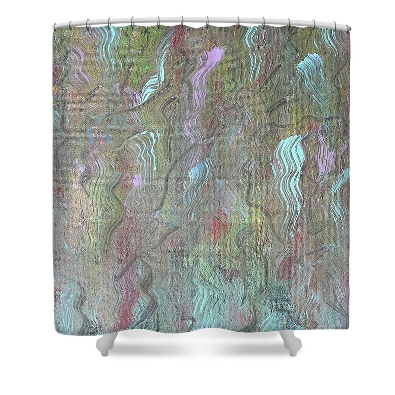 Abstract Shower Curtain featuring the painting Waterfall by Barb Montanye Meseroll