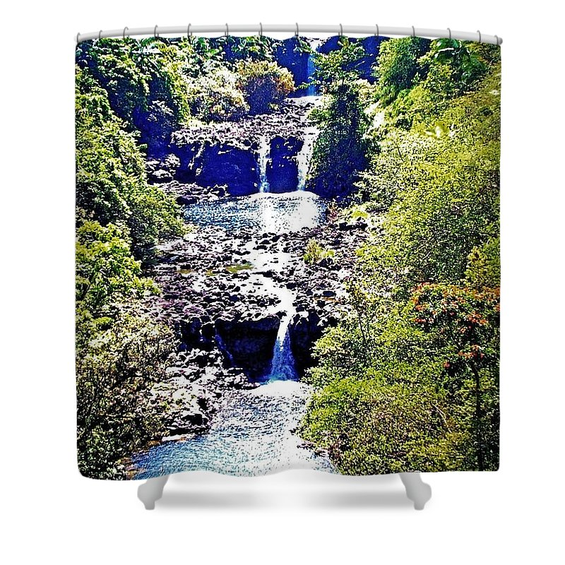 Big Island Of Hawaii Shower Curtain featuring the photograph Waterfall Beauty by Kristalin Davis