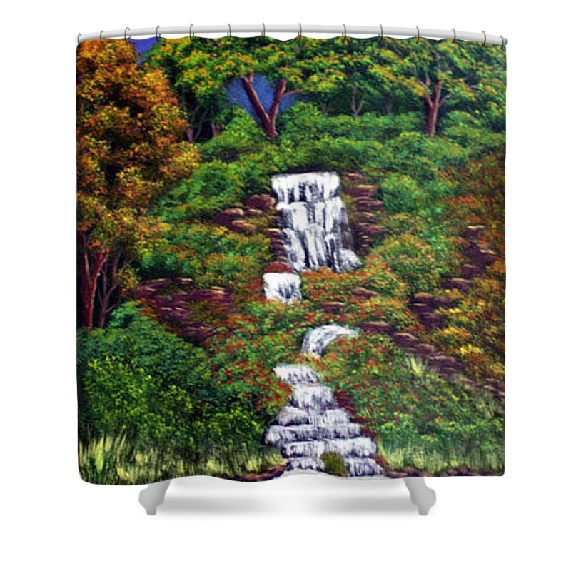 Waterfall Shower Curtain featuring the painting Waterfall by Dawn Blair
