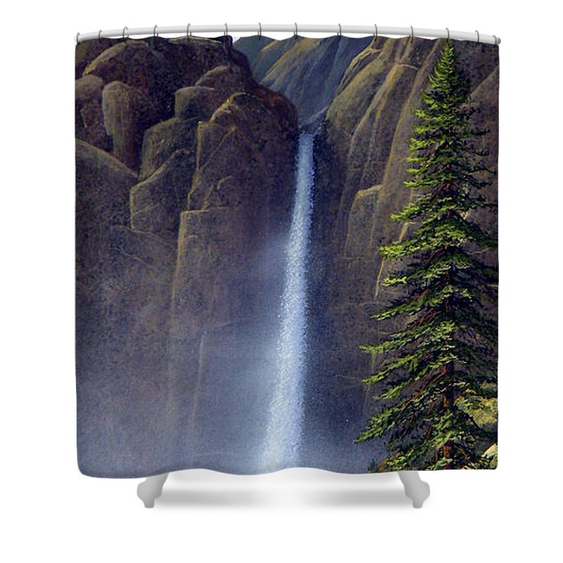 Wilderness Shower Curtain featuring the painting Waterfall by Frank Wilson