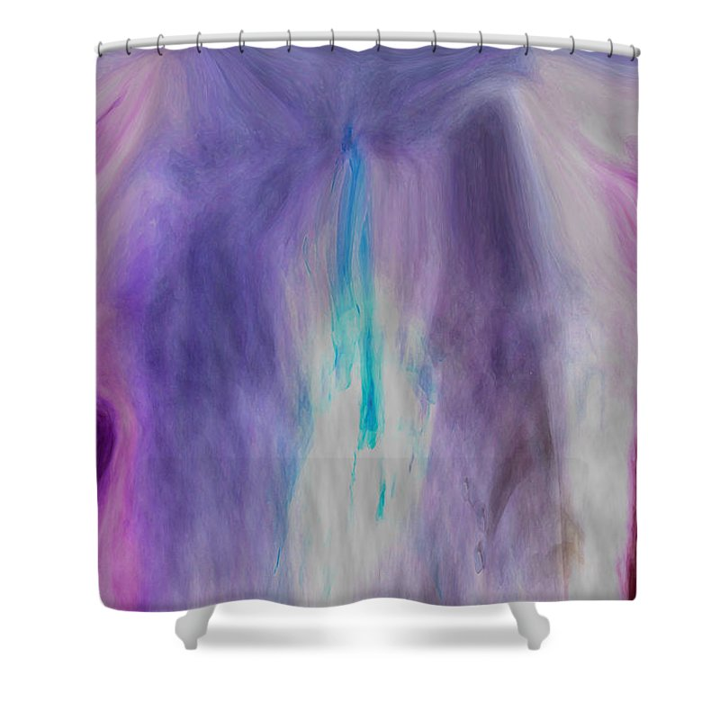 Abstract Art Shower Curtain featuring the digital art Waterfall by Linda Sannuti