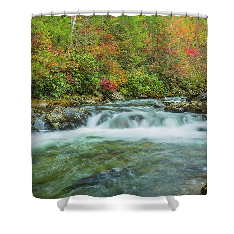 Smoky Mountains Shower Curtain featuring the photograph Waterfall On Little Pigeon River Smoky Mountains by Carol Mellema