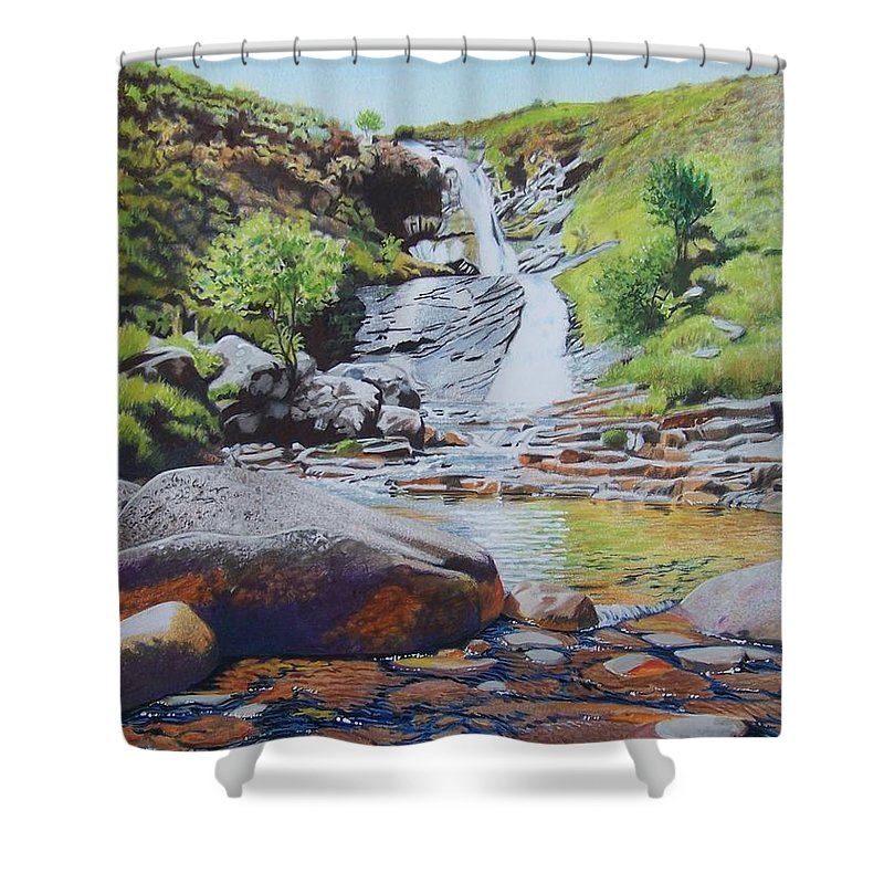 Waterfall Shower Curtain featuring the mixed media Waterfall On Skye 2 by Constance Drescher