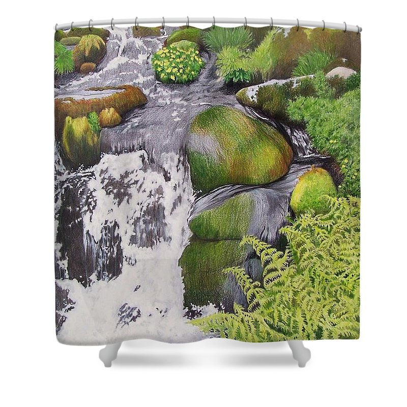 Waterfall Shower Curtain featuring the mixed media Waterfall On Skye by Constance Drescher
