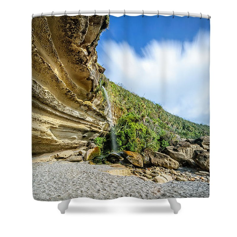 Cliffs Shower Curtain featuring the photograph Waterfall, Truman Track by Robert Green