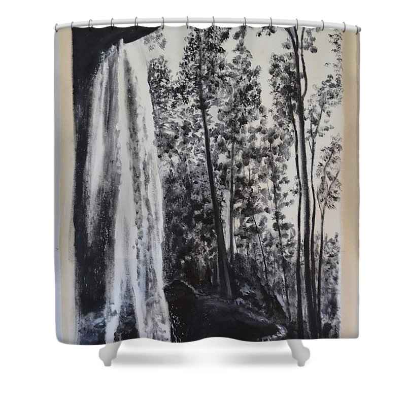 Waterfall Shower Curtain featuring the painting Waterfall by William Cares