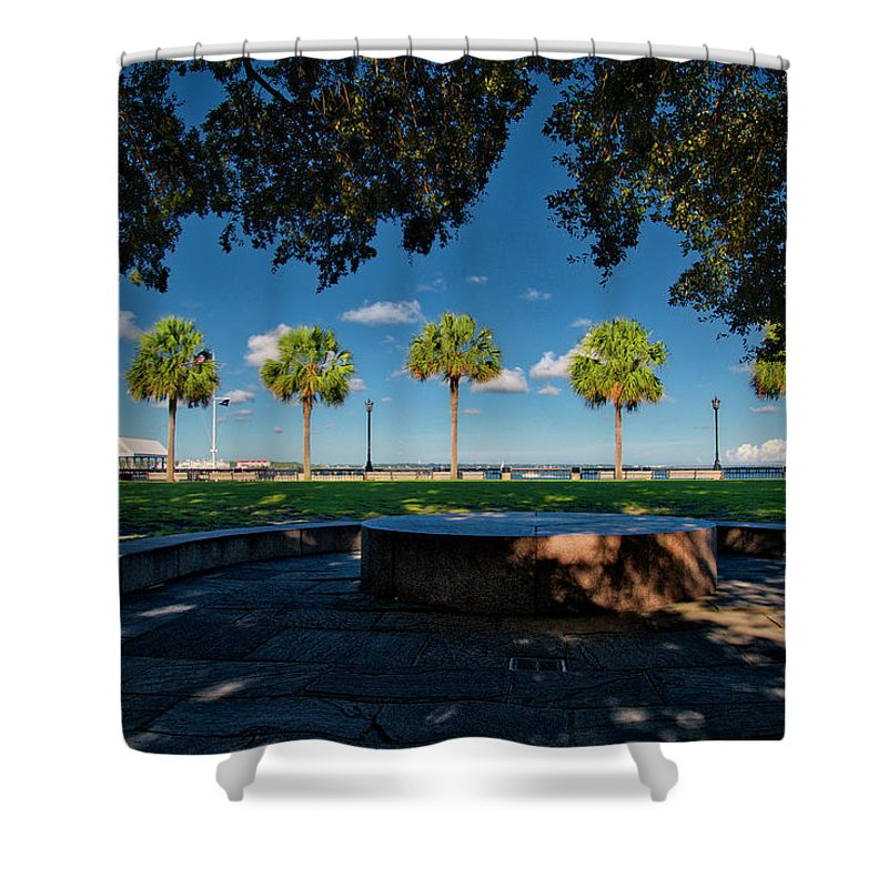 Waterfront Shower Curtain featuring the photograph Waterfront Park. by TJ Baccari