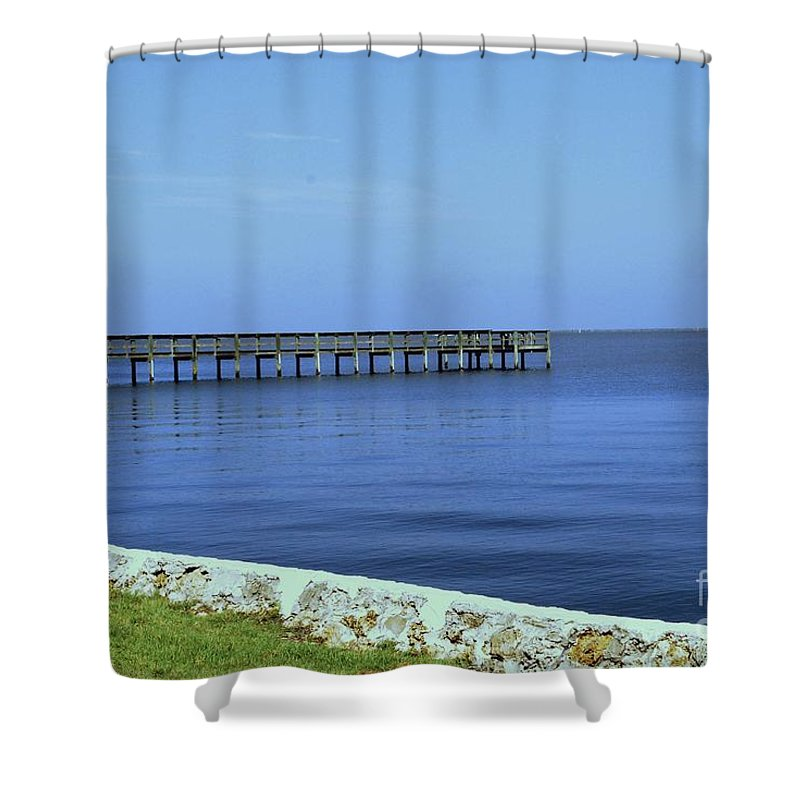 Pier Shower Curtain featuring the photograph Waterfront Pier by Gary Wonning