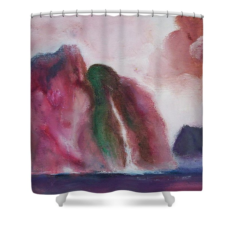Abstract Painting Shower Curtain featuring the painting Waterfull by Suzanne Udell Levinger