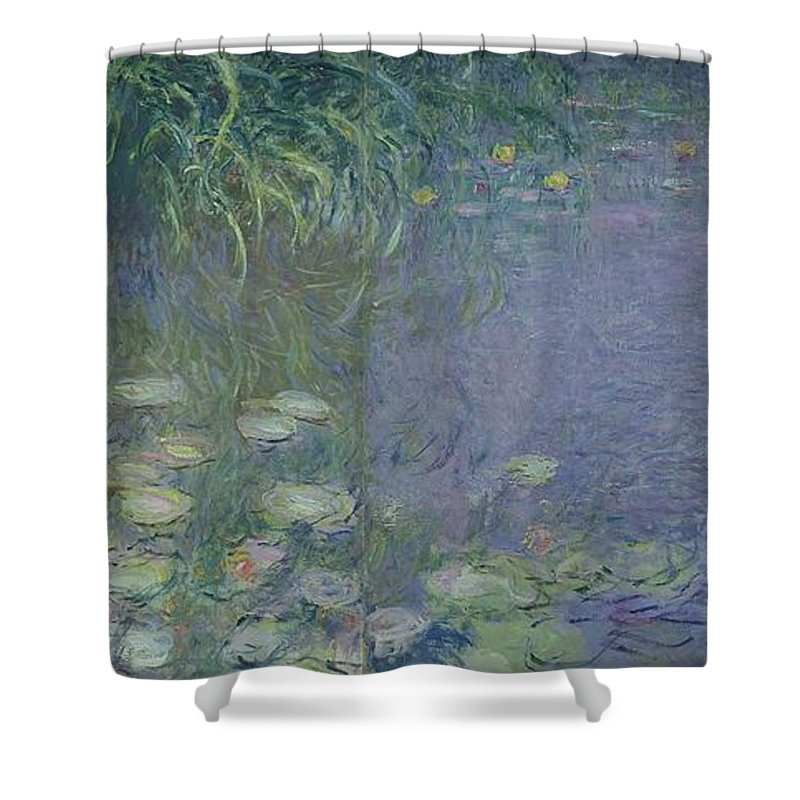 Impressionist;nympheas;matin;quadriptych;water;lily;lilies;waterlily Shower Curtain featuring the painting Waterlilies Morning by Claude Monet