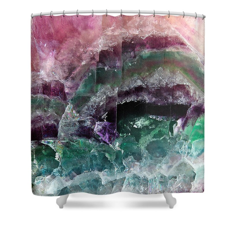 Pink & Green Watermelon Tourmaline Crystal Rock Slab Shower Curtain featuring the photograph Watermelon Crystal by The Quarry