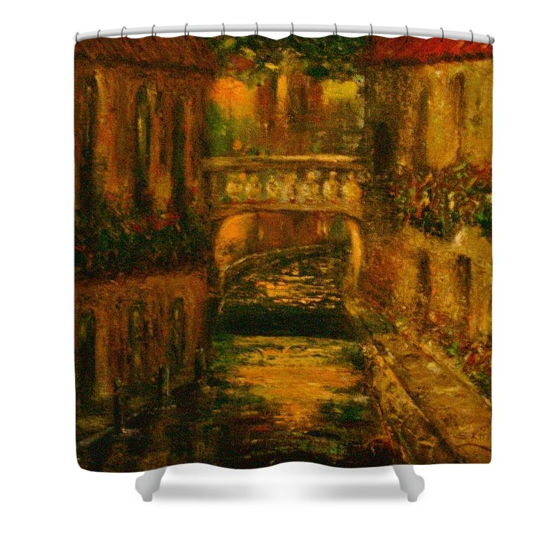 Landscape Shower Curtain featuring the painting Waters Of Europe by Stephen King