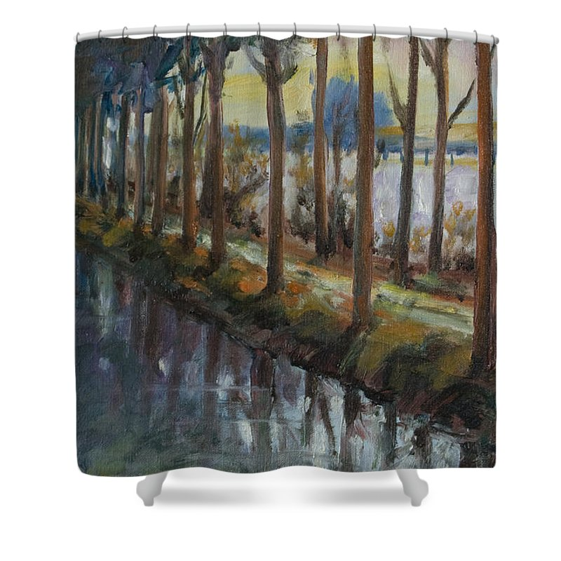 Trees Shower Curtain featuring the painting Waterway by Rick Nederlof