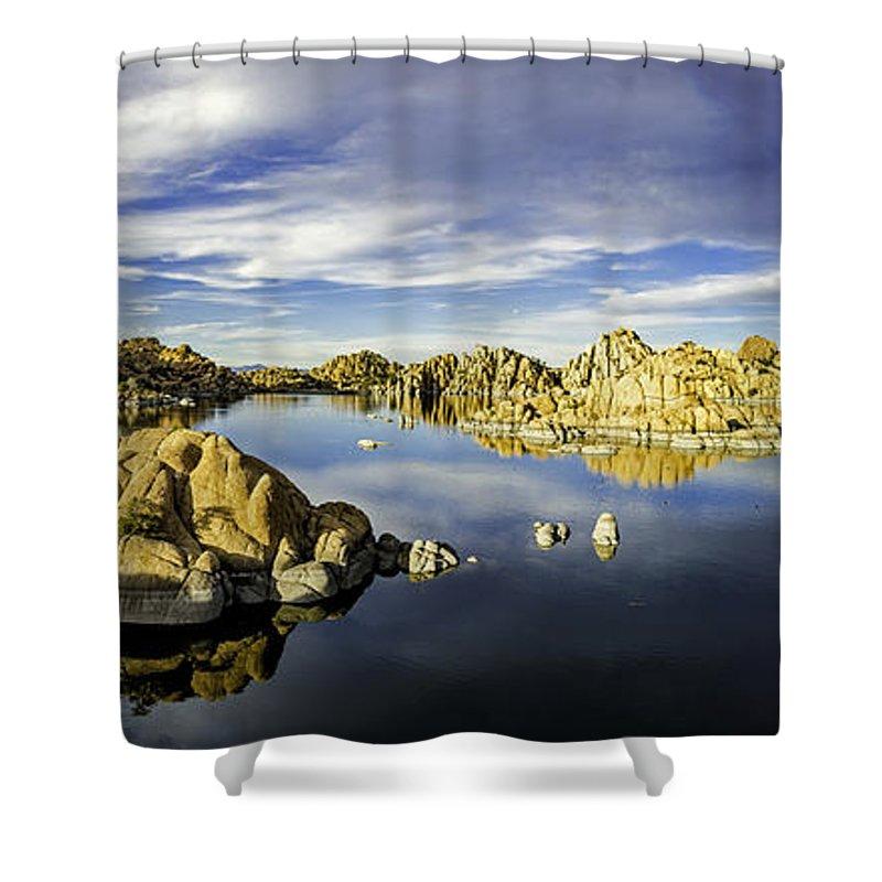 Watson Lake Shower Curtain featuring the photograph Watson Lake Panoramic 30x12 by Tom Clark