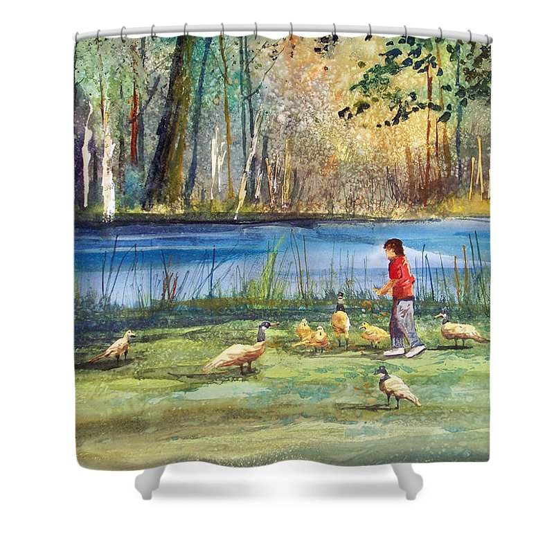 Ryan Radke Shower Curtain featuring the painting Wautoma Mill Pond by Ryan Radke