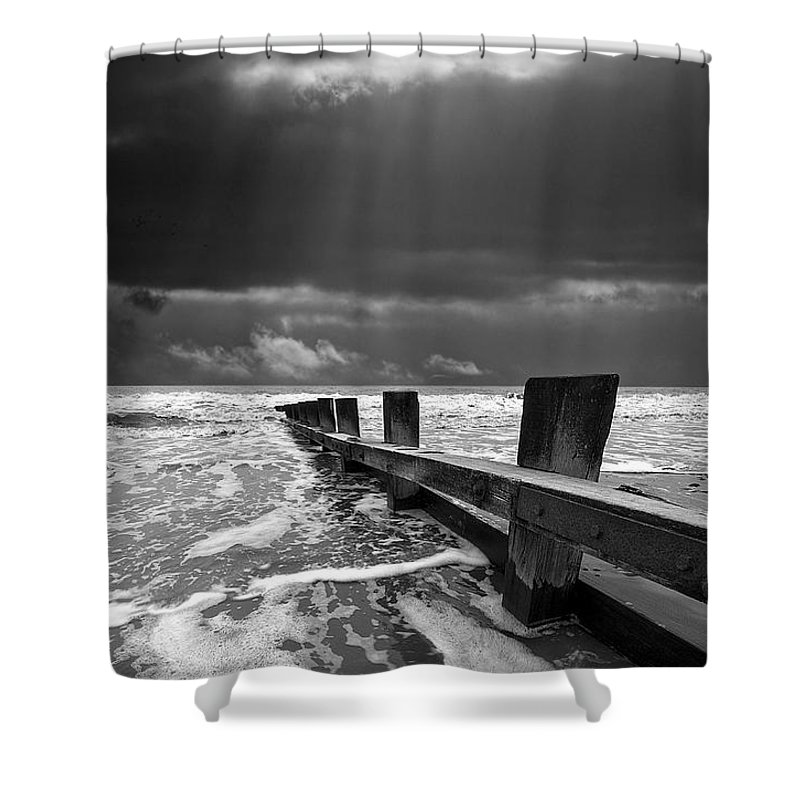 Groyne Shower Curtain featuring the photograph Wave Defenses by Meirion Matthias