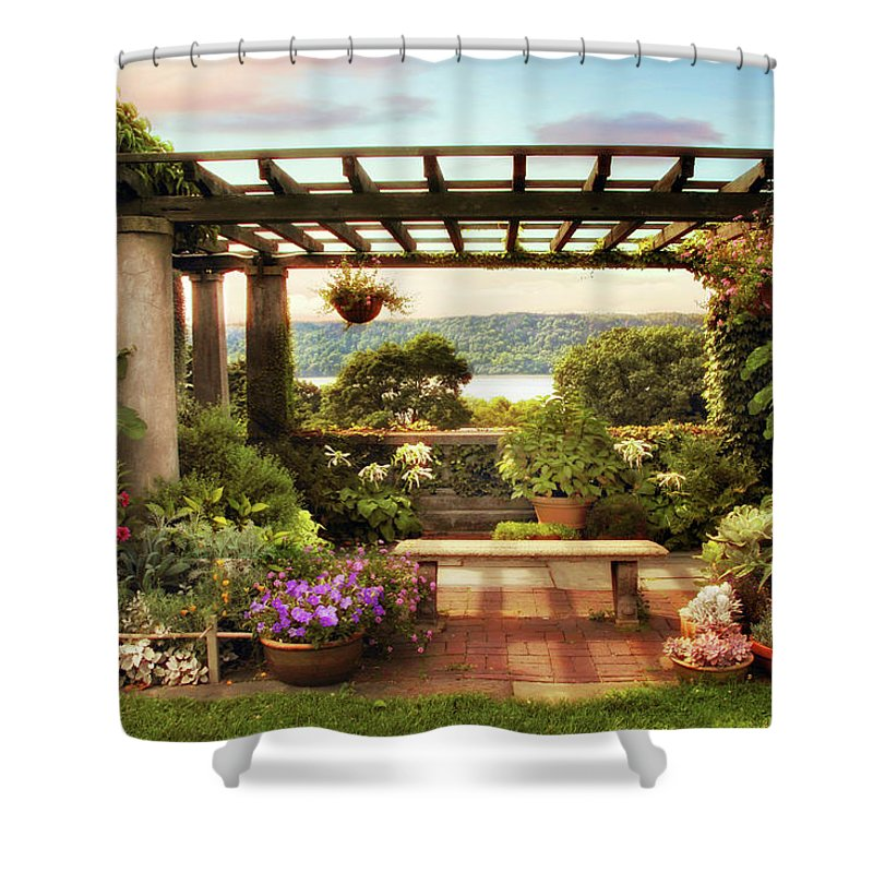 Wave Hill Shower Curtain featuring the photograph Wave Hill Pergola by Jessica Jenney