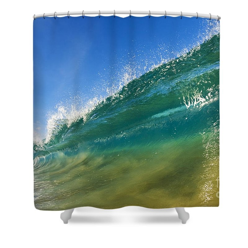 Aqua Shower Curtain featuring the photograph Wave - Makena Beach by MakenaStockMedia - Printscapes