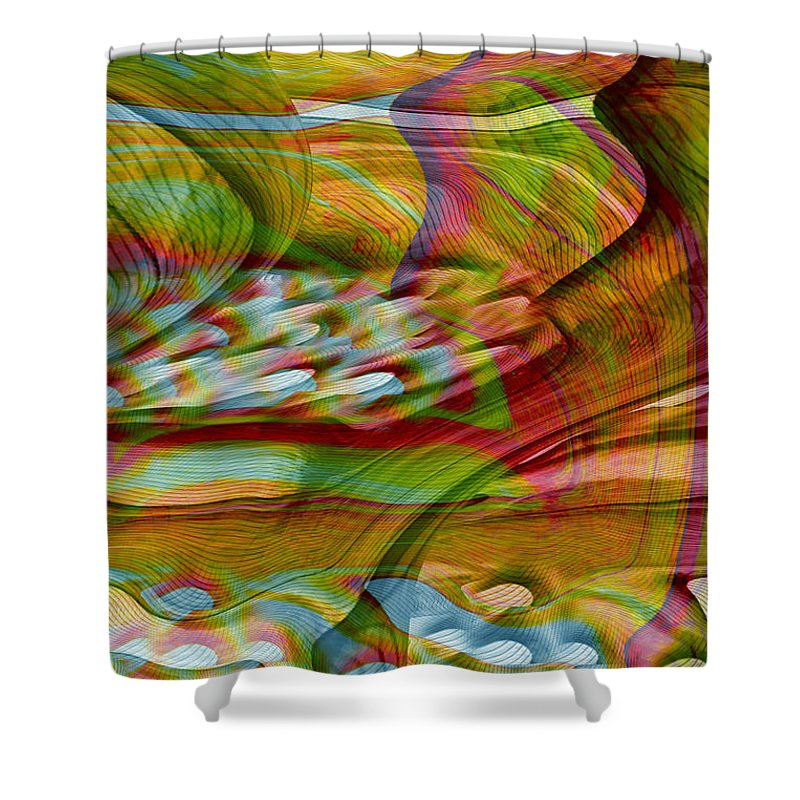 Abstracts Shower Curtain featuring the digital art Waves And Patterns by Linda Sannuti