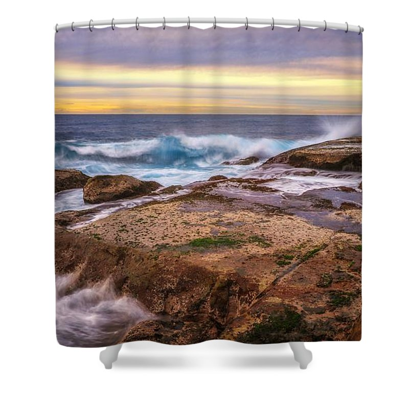 Shower Curtain featuring the photograph Waves Breaking Up On Rocks In Sydney Australia by David Trent