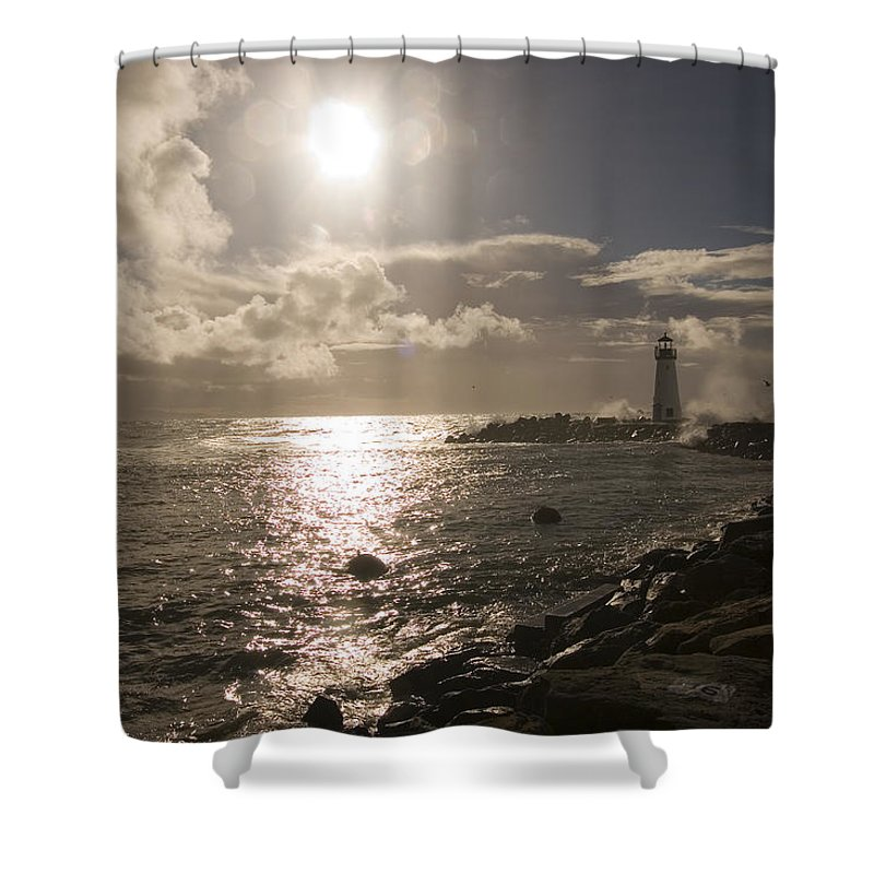 California Shower Curtain featuring the photograph Waves Crash Into A Jetty Sending Water by Charles Kogod