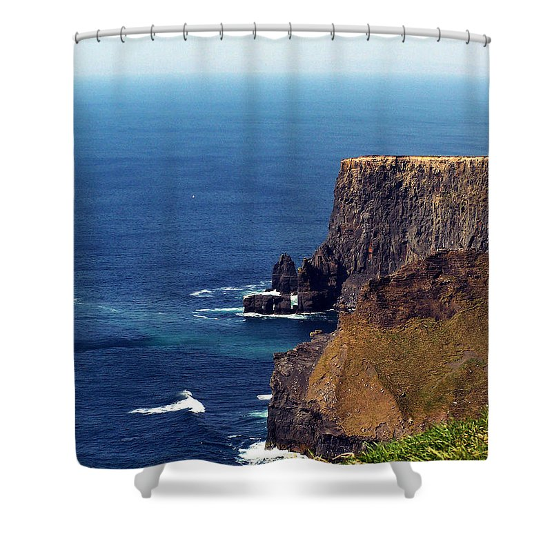 Irish Shower Curtain featuring the photograph Waves Crashing At Cliffs Of Moher Ireland by Teresa Mucha