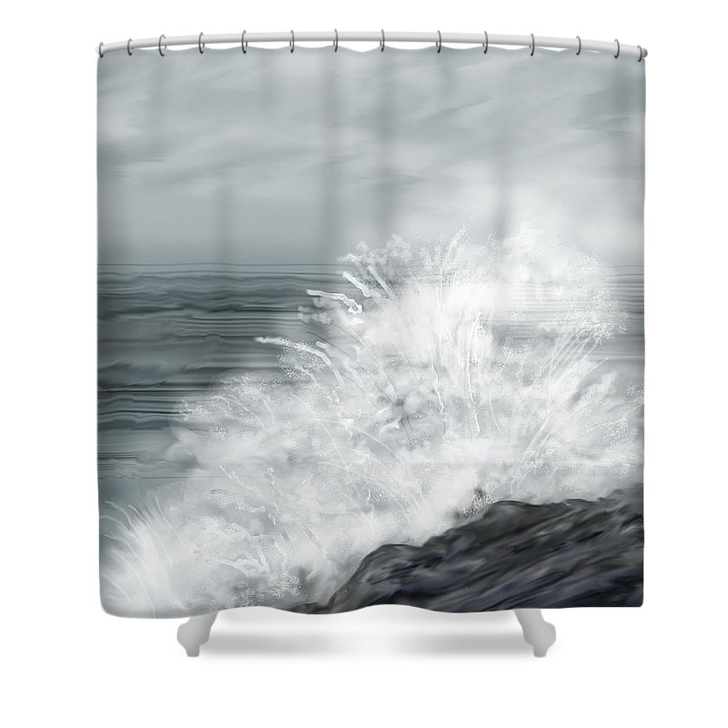 Seascape Shower Curtain featuring the painting Waves Crashing The Rocks In Ireland by Anne Norskog
