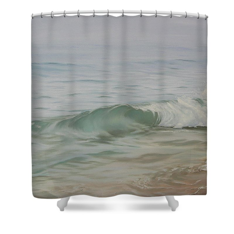 Seascape Shower Curtain featuring the painting Waves out of the Fog by Lea Novak