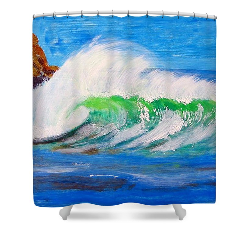 Waves Shower Curtain featuring the painting Waves by Richard Le Page