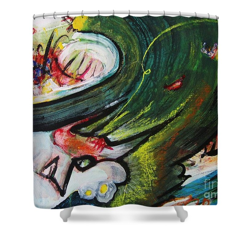 Abstract Paintings Paintings Abstract Art Paintings Shower Curtain featuring the painting Waves by Seon-Jeong Kim