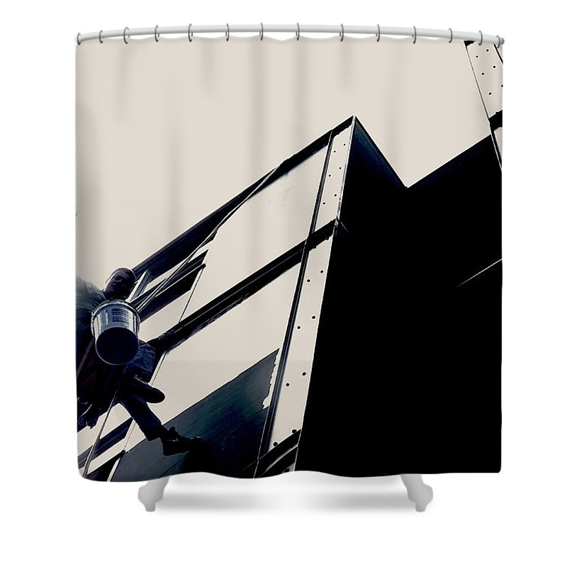 Window Washer Shower Curtain featuring the photograph Waving Window Washer by Leah Stark