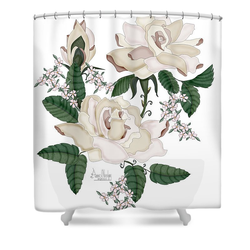 White Roses Shower Curtain featuring the painting Wax Roses by Anne Norskog