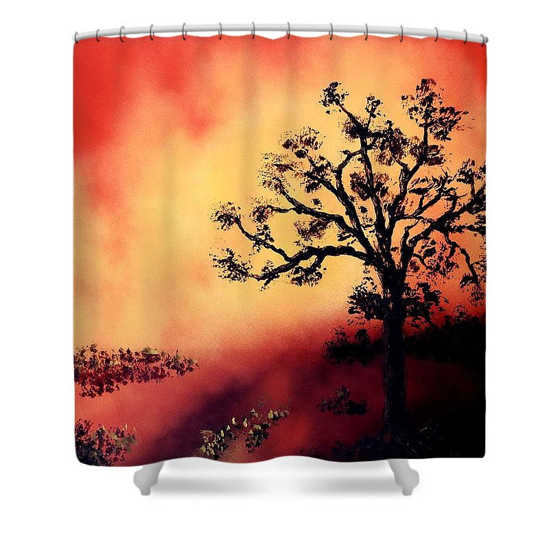 Fantasy Shower Curtain featuring the painting Way To The Light by Nandor Molnar