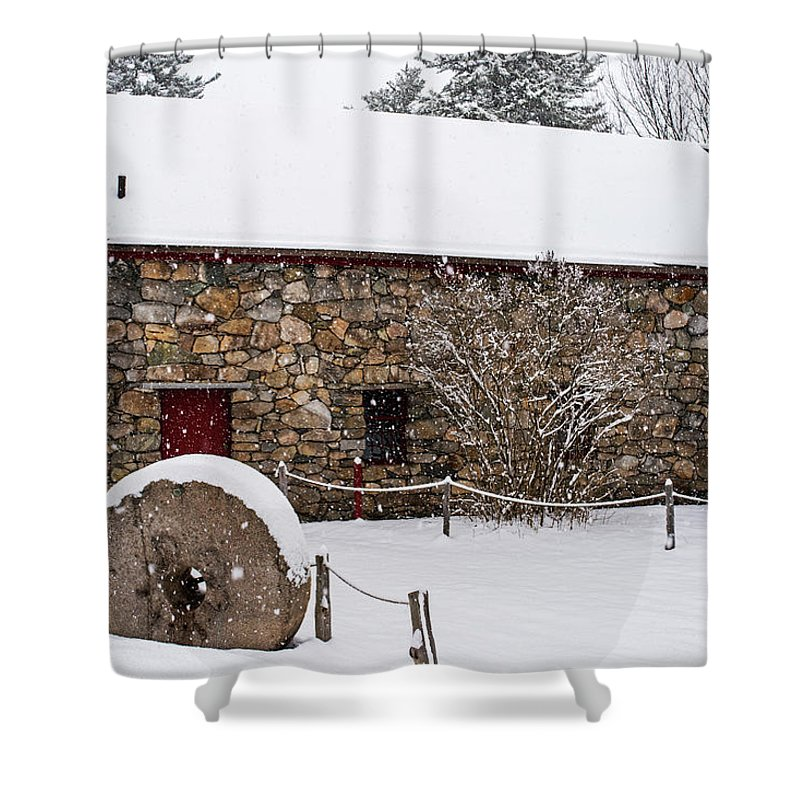 Wayside Shower Curtain featuring the photograph Wayside Inn Grist Mill Covered In Snow Millstone by Toby McGuire