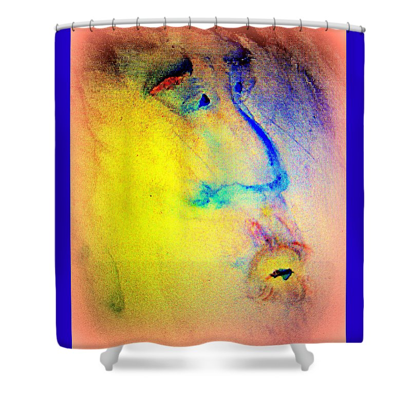 Face Shower Curtain featuring the painting We Are Family, So Let's Stick Together Until We Are All Dead by Hilde Widerberg