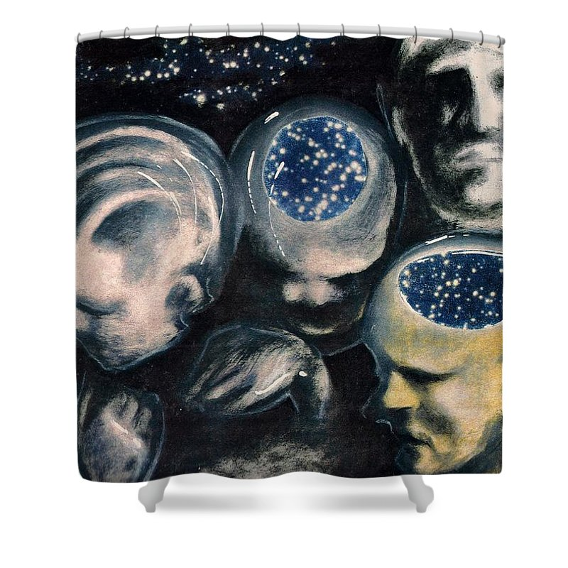 Universe Aura Thoughts Thinking Faces Mistery Shower Curtain featuring the mixed media We Are Universe by Veronica Jackson