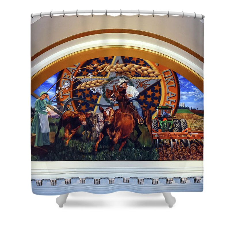 Oklahoma City Oklahoma Capitol Building Interior Architecture We Belong To The Land Jeff Dodd Painting Paintings Art Artwork Odds And Ends Shower Curtain featuring the photograph We Belong To The Land by Bob Phillips