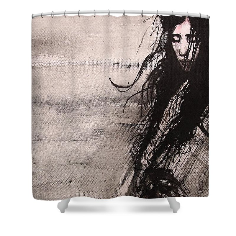 Portrait Art Shower Curtain featuring the painting We Dreamed Our Dreams by Jarmo Korhonen aka Jarko