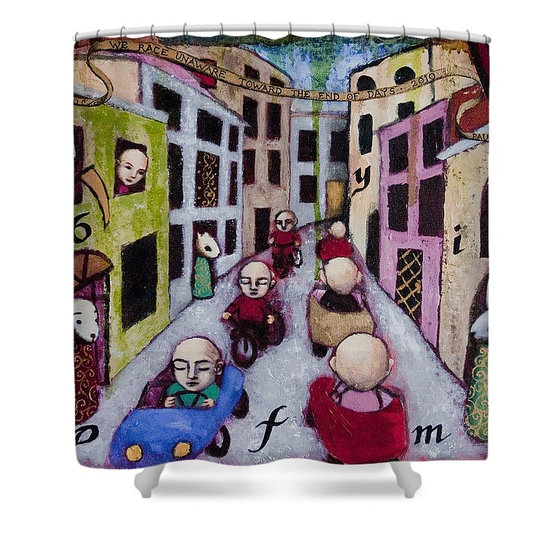 Cityscape Shower Curtain featuring the painting We Race Unaware Toward The End Of Days by Pauline Lim